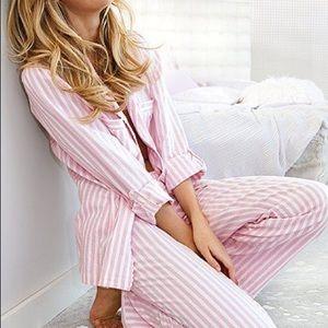 Victoria's Secret Pink/White Striped PJ Pants Sz L